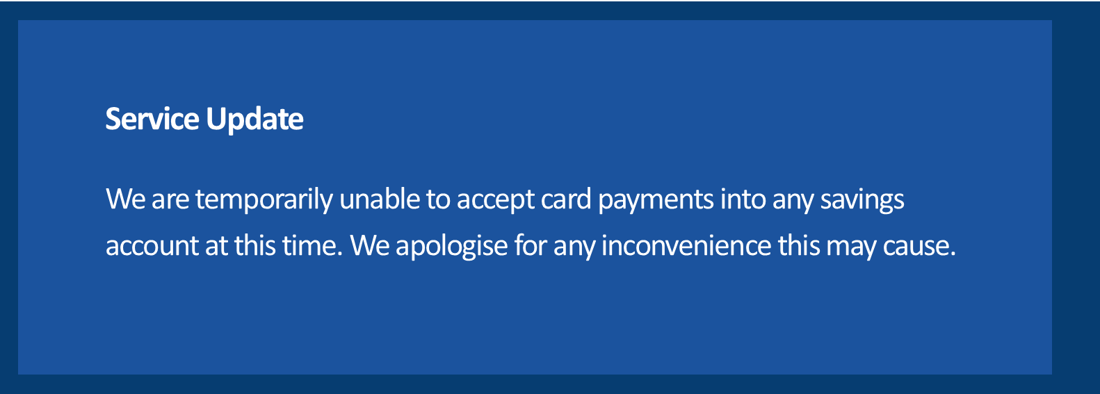 Unable to access card payments to savings
